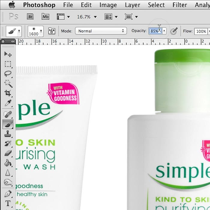 Clean white background pack shots retouching