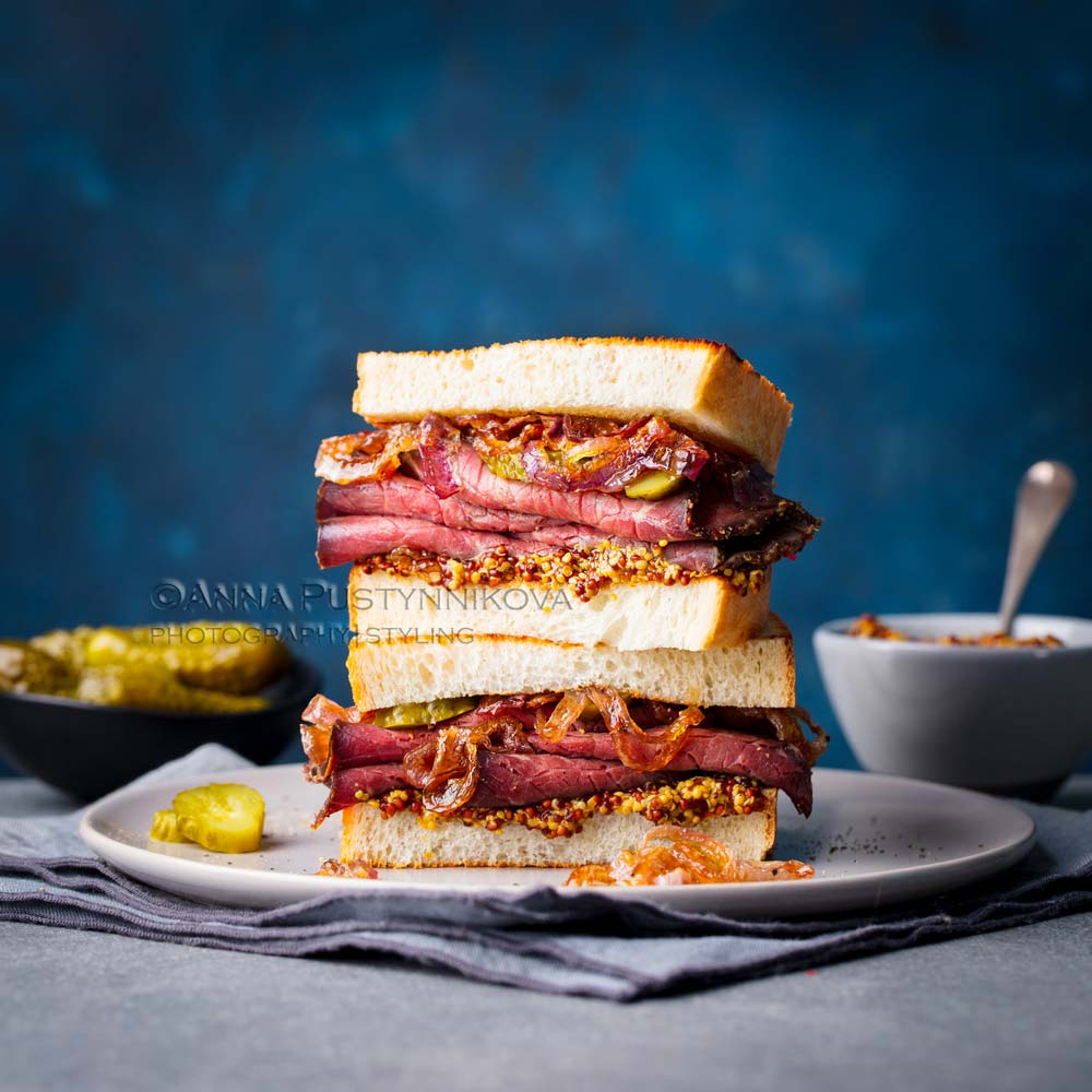 Beautiful food photography of sandwich with blue background