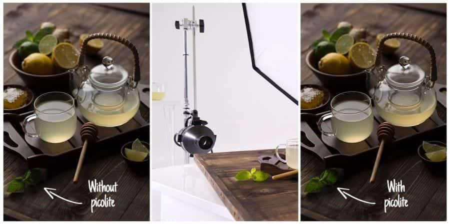 Lighting setup for food photography tea shot