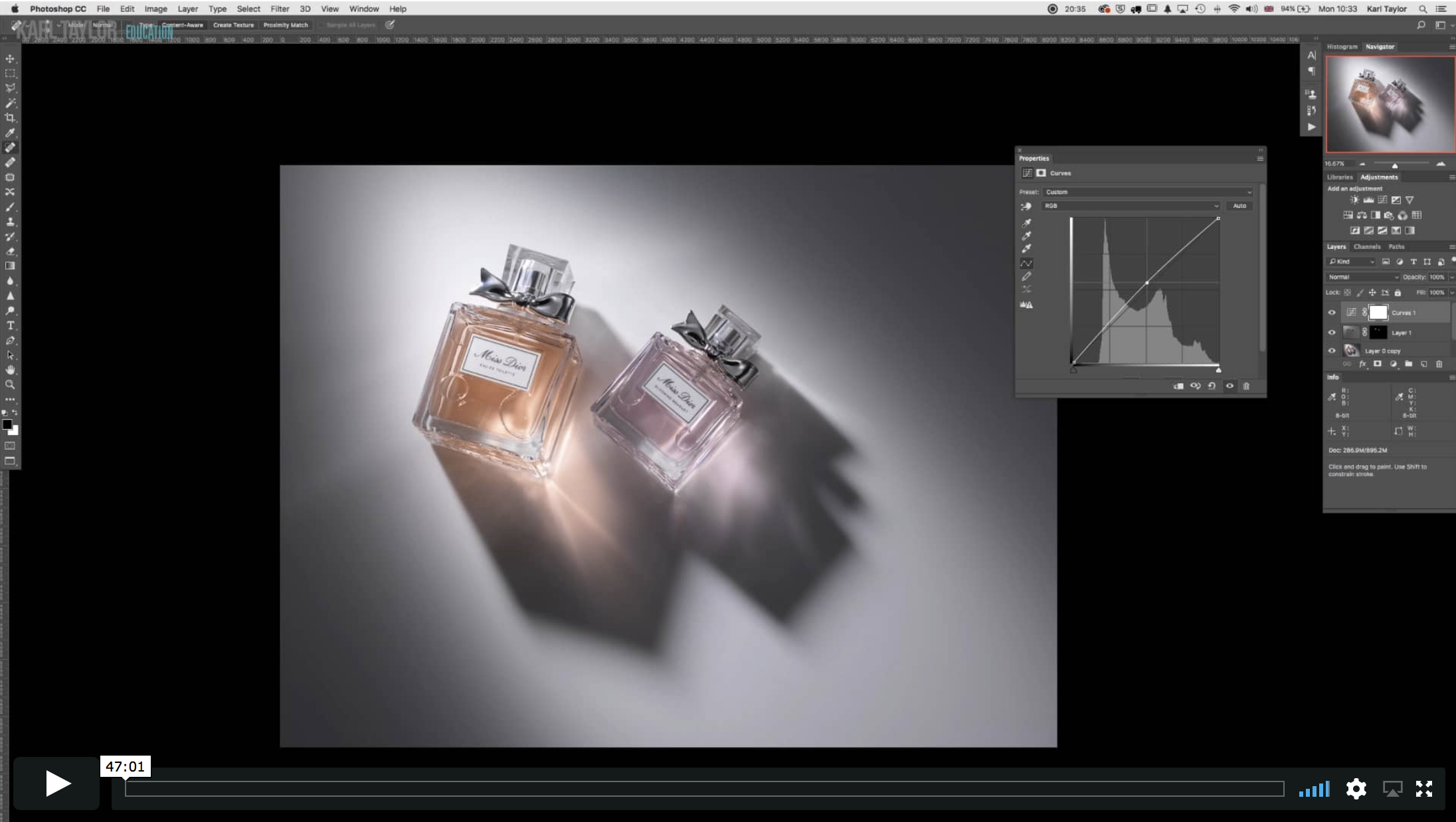 Dior Perfume Bottles Post Production