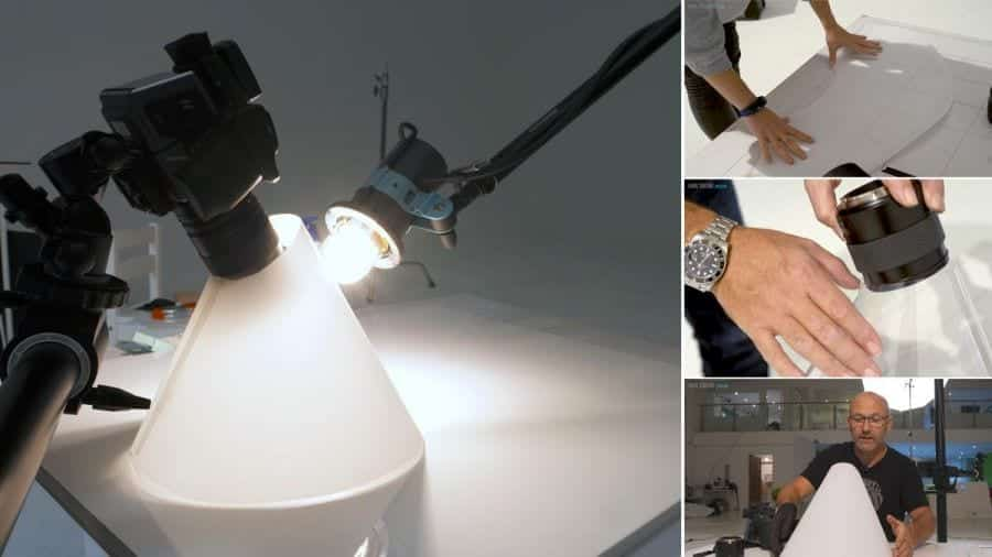Creating a light cone for jewellery photography