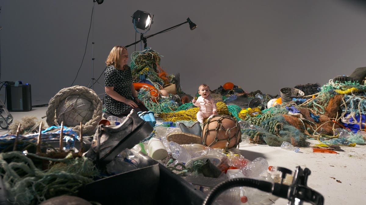 Mother and baby, ocean pollution awareness campaign