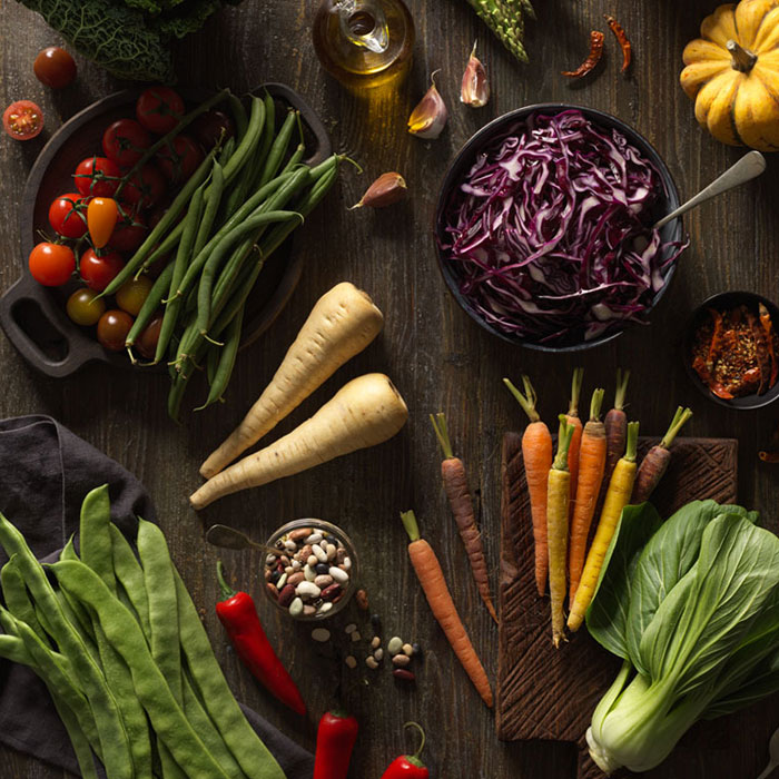 Healthy living flat lay: Raw vegetables