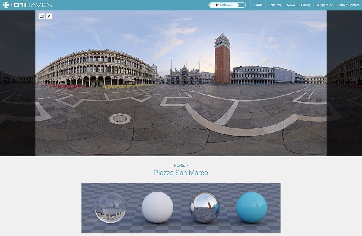 HDRI image of Piazza San Marco in Italy, available from HDRI Haven