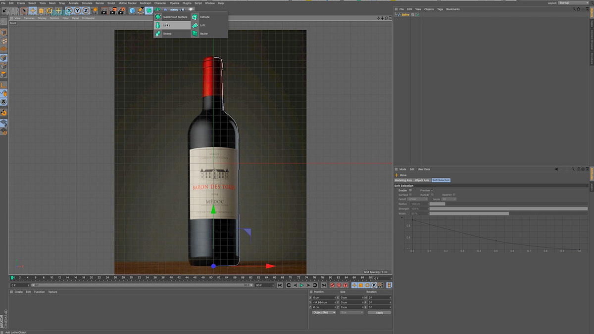Cinema 4D interface & object tools showing rendering of a bottle product.