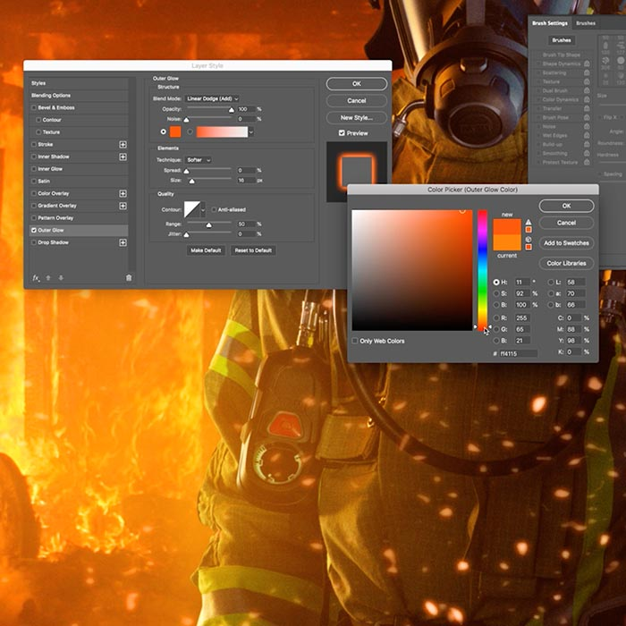9. Generating sparks and fire using Photoshop tools