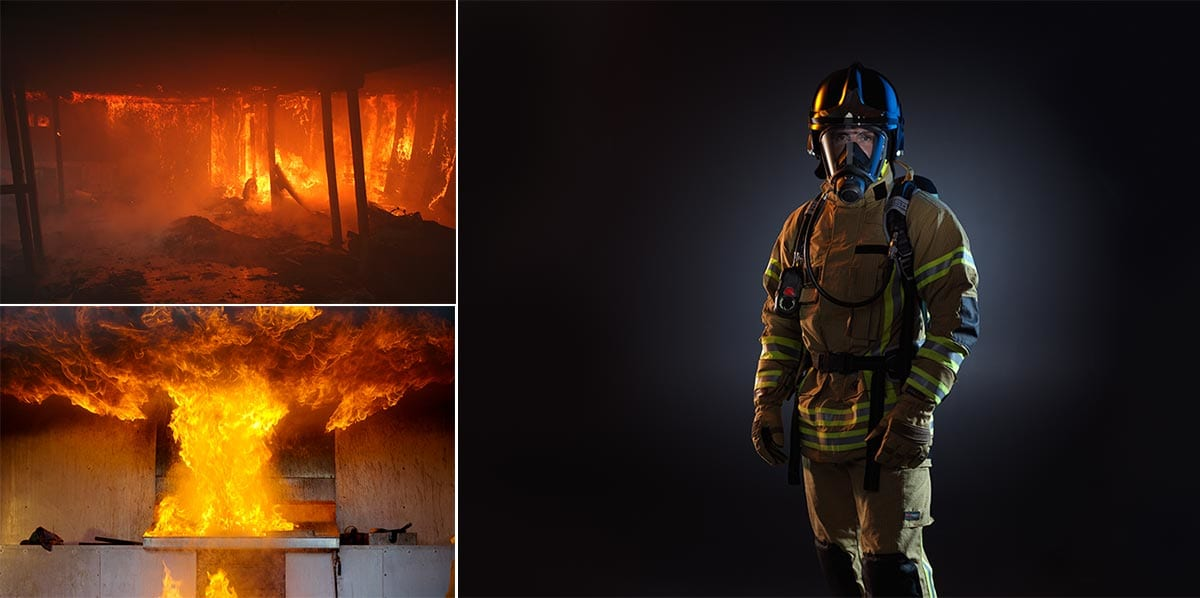 Composite photos used include burning room, building and image of fireman.