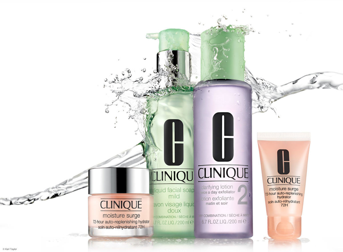 Clinique advert incorporating clear water splash as part of the creative brief. Photo by Karl Taylor