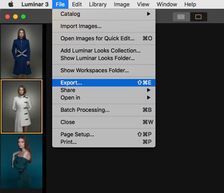 Resizing images in Luminar example